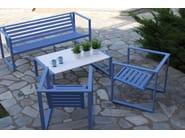 Low rectangular Corian® garden side table ERATO | Aluminium coffee table - Efasma