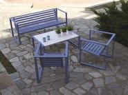 Sled base aluminium garden armchair with armrests ERATO | Aluminium garden armchair - Efasma