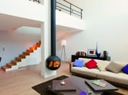Wall-mounted steel fireplace with panoramic glass EDOFOCUS 631 - Focus