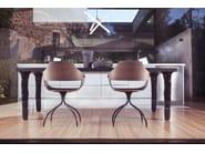 Square oak and porcelain stoneware table FANG   Square table - BD Barcelona Design