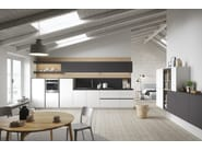 Doors in melamine iron grey soft and arctic white soft. Worktop in laminate iron grey. Back panel and open units in melamine nature oak.