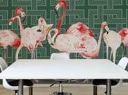 Washable vinyl wallpaper FLAMINGOS - GLAMORA