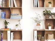 Wall-mounted modular wooden bookcase FLIP - Nordic Tales