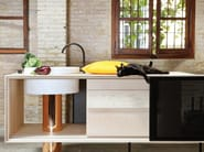Ash kitchen unit with drawers with single sink FLOAT | Kitchen unit - Miras