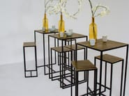 Square metal high table with 2 bar stools FRAME | High table - Pols Potten