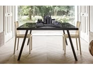 Square glass and steel table FRAME | Square table - Calligaris