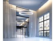 Direct-indirect light aluminium pendant lamp GOLDEN RING - PANZERI