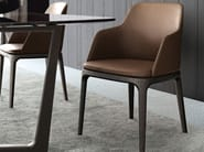 Leather chair with armrests GRACE | Chair with armrests - Poliform