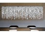 Direct light incandescent painted metal pendant lamp with crystals IMPERO VE 895 - Masiero