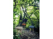 Upholstered wool stool GREY KNITTED STOOL - GAN By Gandia Blasco