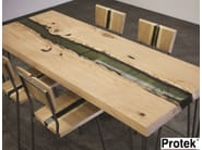 Rectangular wooden dining table GROOVE | Table - PROTEK®