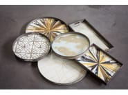Round wood and glass tray KALEIDOSCOPE | Round tray - Notre Monde