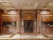 Bespoke cuisine with backlit marble - Kitchen King walnut version - Kitchen Collection - Modenese Gastone