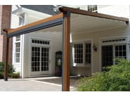Wall-mounted pergola with sliding cover L1 S | Laminated wood pergola - KE Outdoor Design