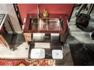 Stainless steel kitchen unit with single sink LAVAGGIO 100 | Kitchen unit with single sink - ALPES-INOX