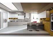 American style steel fitted kitchen with island with handles LUNA - ARREDO 3