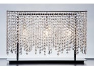 Classic style halogen crystal and steel table lamp LINEA T | Table lamp - Manooi