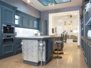 Lacquered leather and wood kitchen with island MARMOLÀ | Leather kitchen - Brummel Cucine