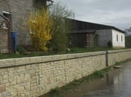 Opere fluviali, di difesa e di sistemazione idraulica e bonifica, getto in calcestruzzo faccia a vista su matrice RECKLI
