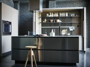 Stainless steel and Fenix fitted kitchen with island MAXIMA 2.2 - COMPOSITION 2 - Cesar Arredamenti