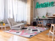 Handmade rectangular wool rug with geometric shapes MELLOW - Dare to Rug