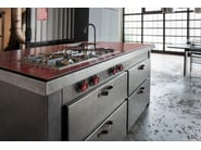 Professional oxidized steel kitchen with handles MINÀ | Steel kitchen - Minacciolo
