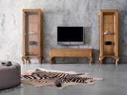 Luxury laquered walnut tv stand furniture - Minimal Baroque Collection - Modenese Gastone