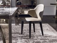 Upholstered leather chair with armrests MISS | Leather chair - Longhi