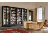 Modular wood and glass bookcase BIBLIOTECA | Modular bookcase - Morelato