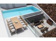 Low rectangular teak garden side table NINIX | Teak coffee table - ROYAL BOTANIA