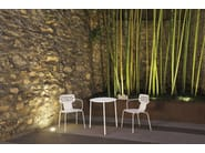 Stackable round stainless steel garden table OPEN TABLE 65 - 085_O - Alias