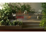 Stackable metal garden bench with armrests OPLÀ D - Imperial Line