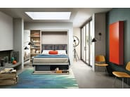 Lacquered storage wall with fold-away bed OSLO 173 - CLEI