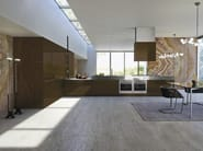 Opera with façades of metallic lacquered wood Absolute Brown. 17 cm high steel kitchen unit.