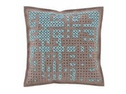 Embroidered wool cushion CANEVAS | Square cushion - GAN By Gandia Blasco