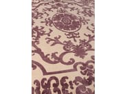 Patterned handmade rectangular rug POMPADOUR PRUNE - EDITION BOUGAINVILLE