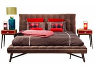 Cotton double bed with tufted headboard PROFILE - ROCHE BOBOIS