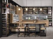 Oak kitchen with peninsula ROVERETTO - L'Ottocento