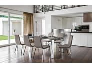 Extending glass and aluminium table ROYAL - Calligaris