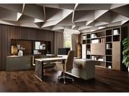 Open tall freestanding wooden office shelving RUBIK | Modular office shelving - Caroti