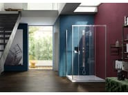 Contemporary style corner rectangular crystal shower cabin with sliding door SERIE 8000: CQ+CF - VISMARAVETRO