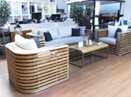 Teak garden armchair with armrests SILLOUETTE | Garden armchair - 7OCEANS DESIGNS
