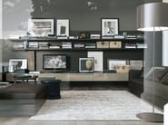 Sectional lacquered TV wall system SINTESI - Poliform