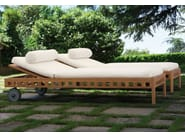 Teak garden daybed with Casters SQUARE | Garden daybed - Meridiani