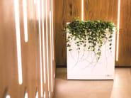 High rectangular stainless steel plant pot with automatic watering STEEL PLUS | Plant pot with automatic watering - Hobby Flower