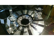 Round Glass and Stainless Steel coffee table THE CROWN - Placidia