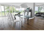 Extending tempered glass table TOWER | Glass table - Calligaris