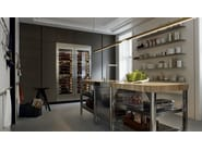 Lacquered kitchen with integrated handles with peninsula TRAIL - Varenna by Poliform