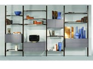 Open floor-ceiling mounted aluminium bookcase with drawers TRANSPACE - ROCHE BOBOIS