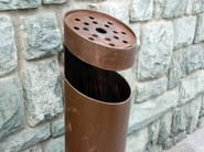 In-ground outdoor stainless steel waste bin with ashtray TUBO PK - Tubo / ZZ Concept